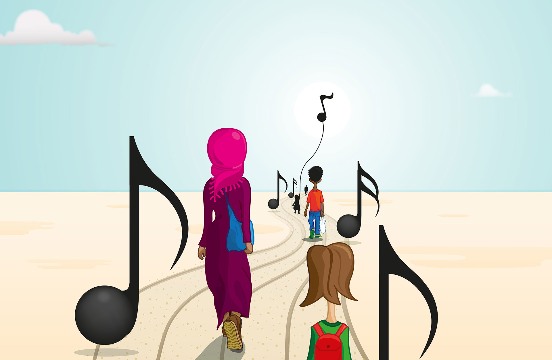 illustration där en familj går i öken med noter runt sig