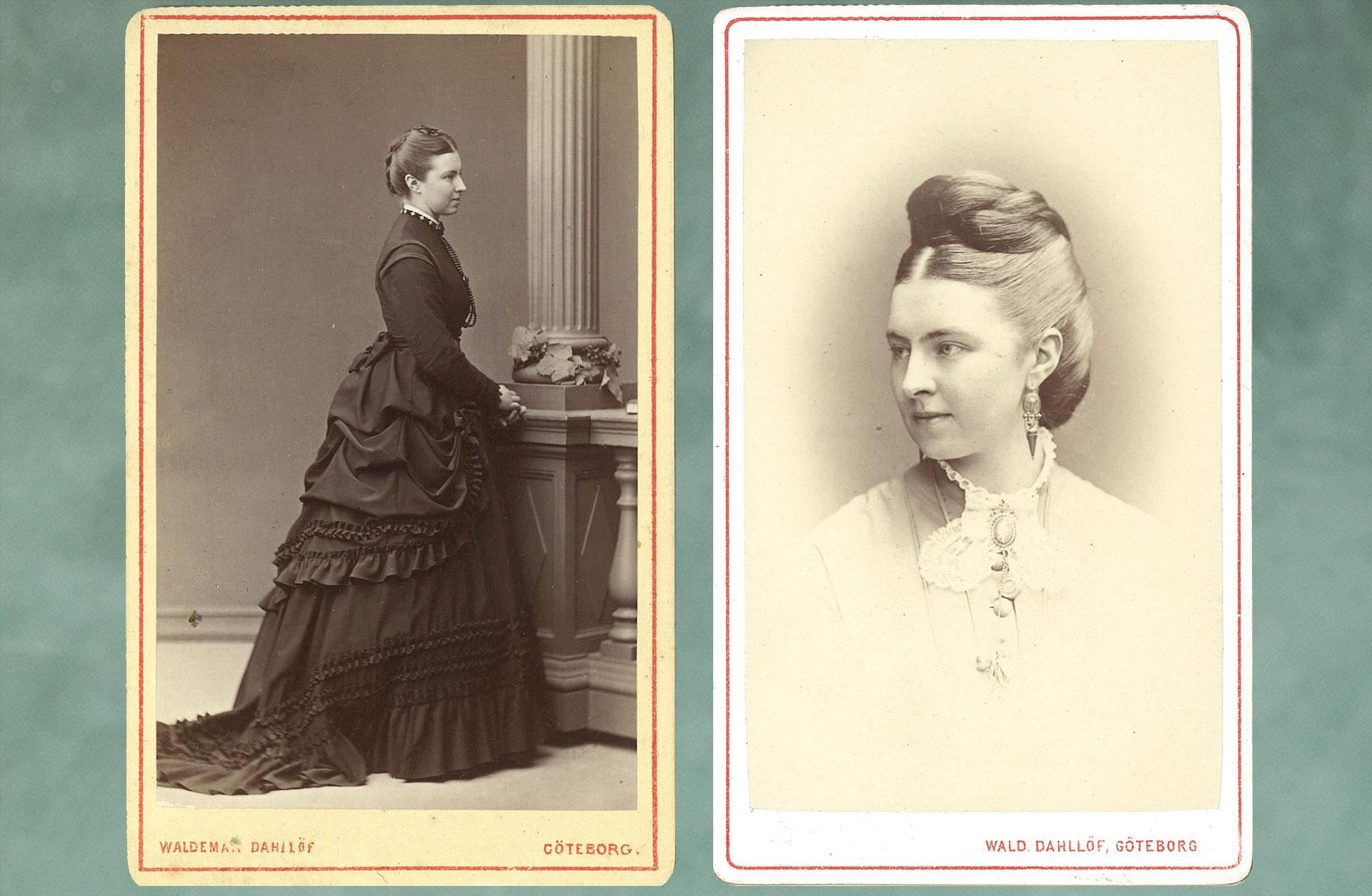 Två äldre fotografier av Caroline Wijk, ett där hon står i svart långklänning i helfigur och ett på hennes ansikte i profil.