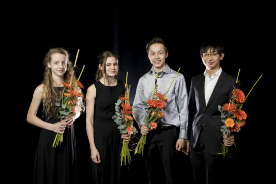 Finalisterna av 2017 Œrs PolstjŠrnepris. Alva Holm, Johan Dalene, Daniel Xia, Klara Borgqvist och  Foto: Sebastian LaMotte