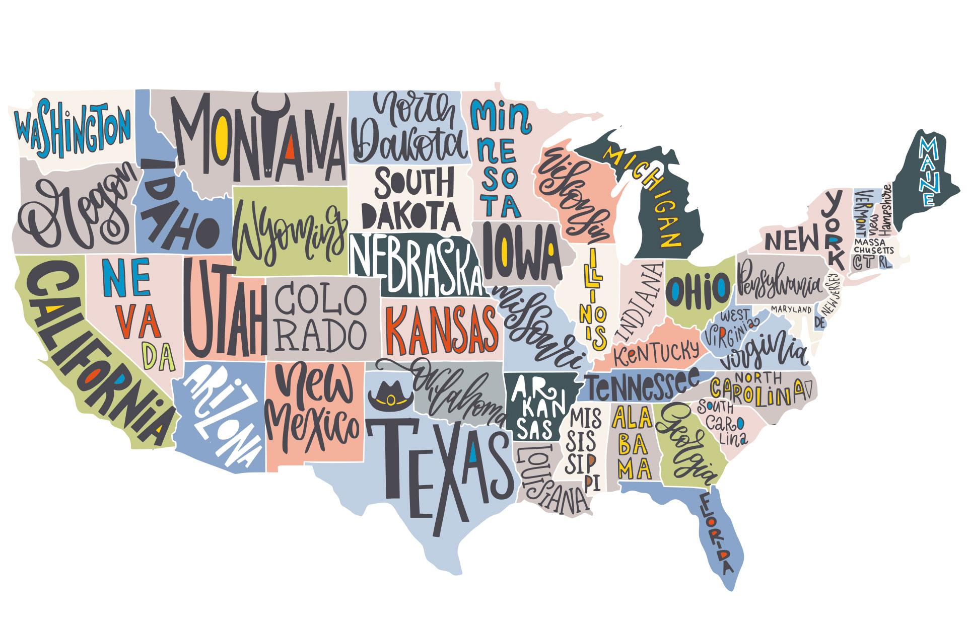 Karta över USA:s delstater