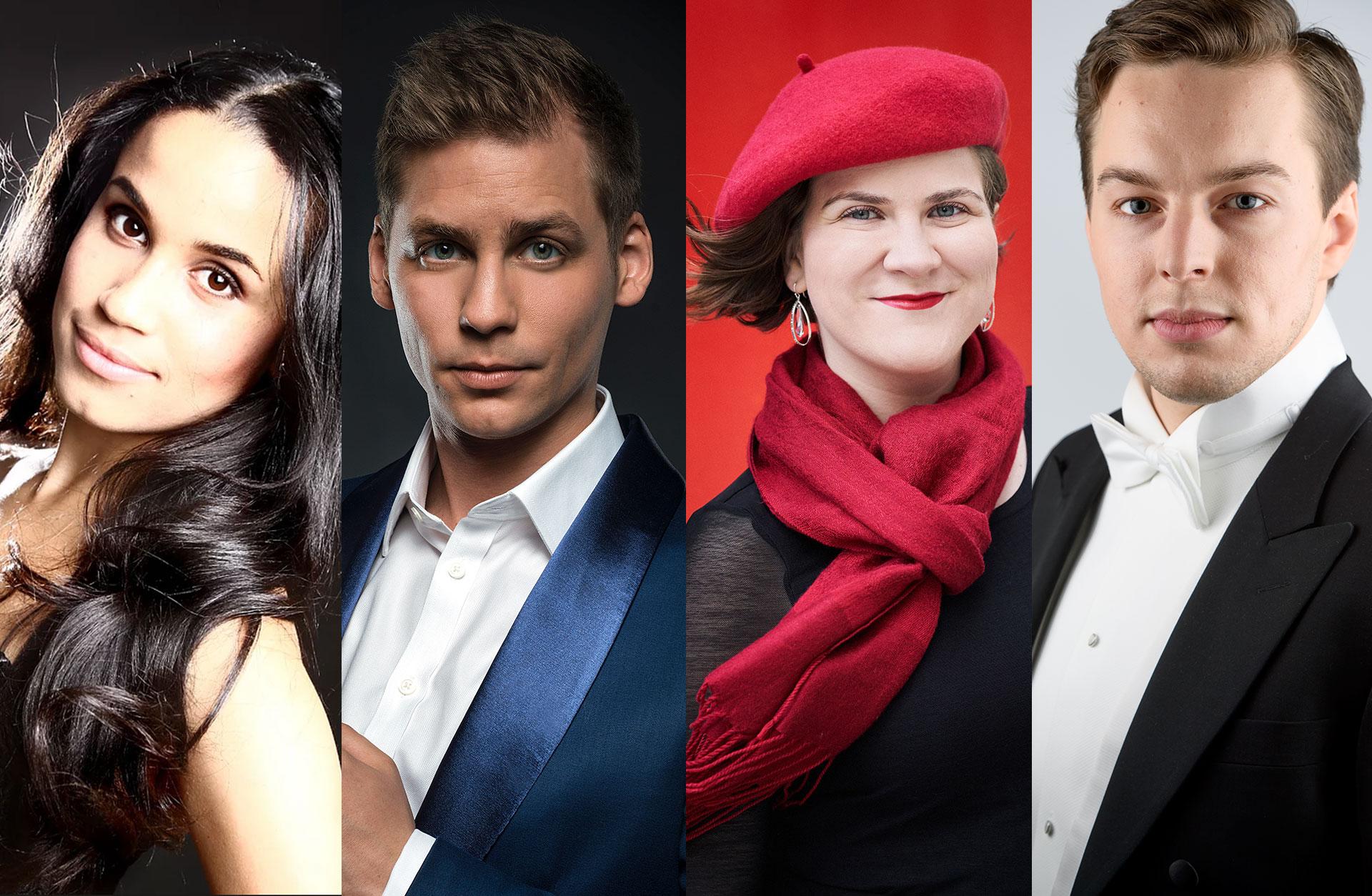 Sångsolisterna Sanna Gibbs, Ema Nikalovska, Gyula Rab, Erik Rosenius