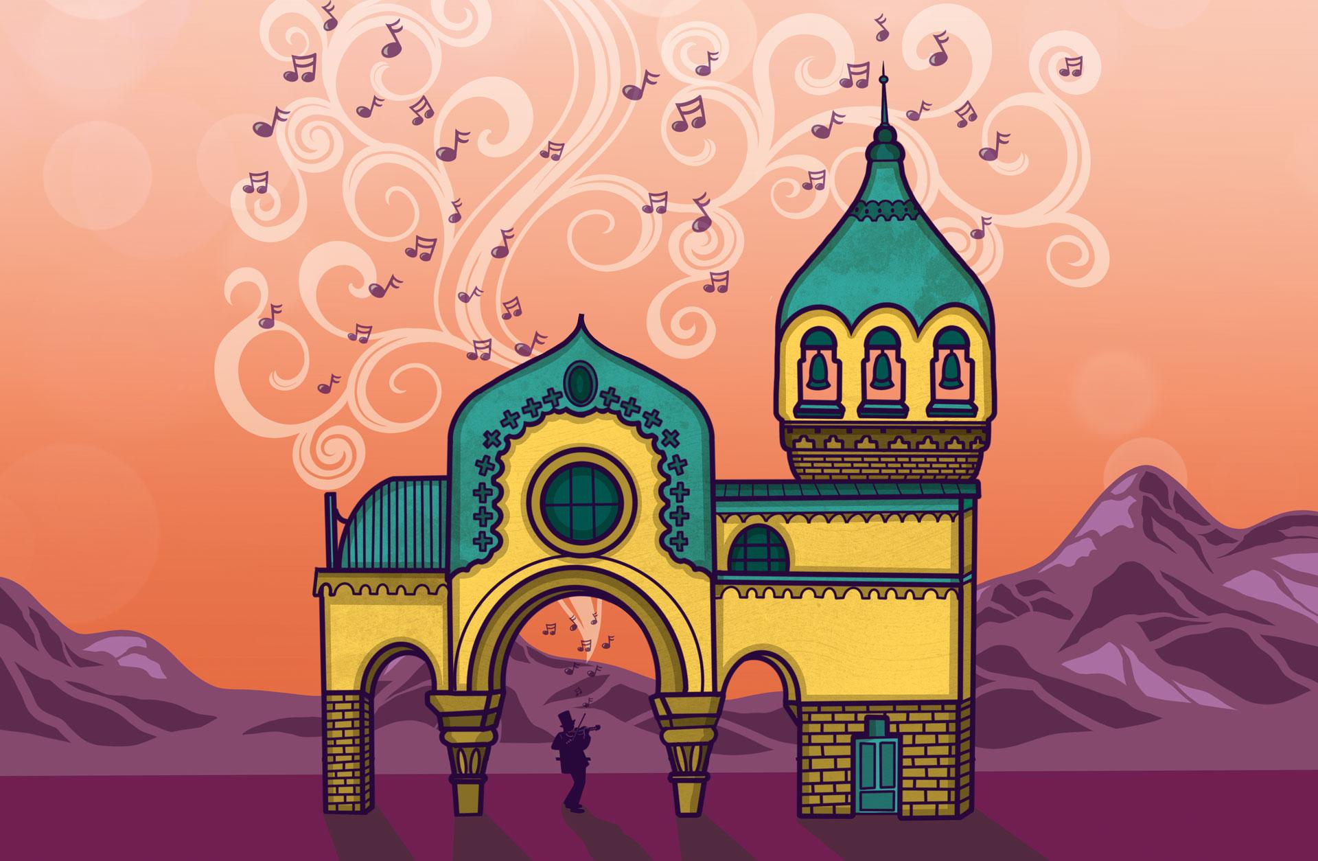 Illustration av hus med kupoler mot en bakgrund av berg och himmel, med noter som strömmar upp från en person som står i ett valv och spelar.
