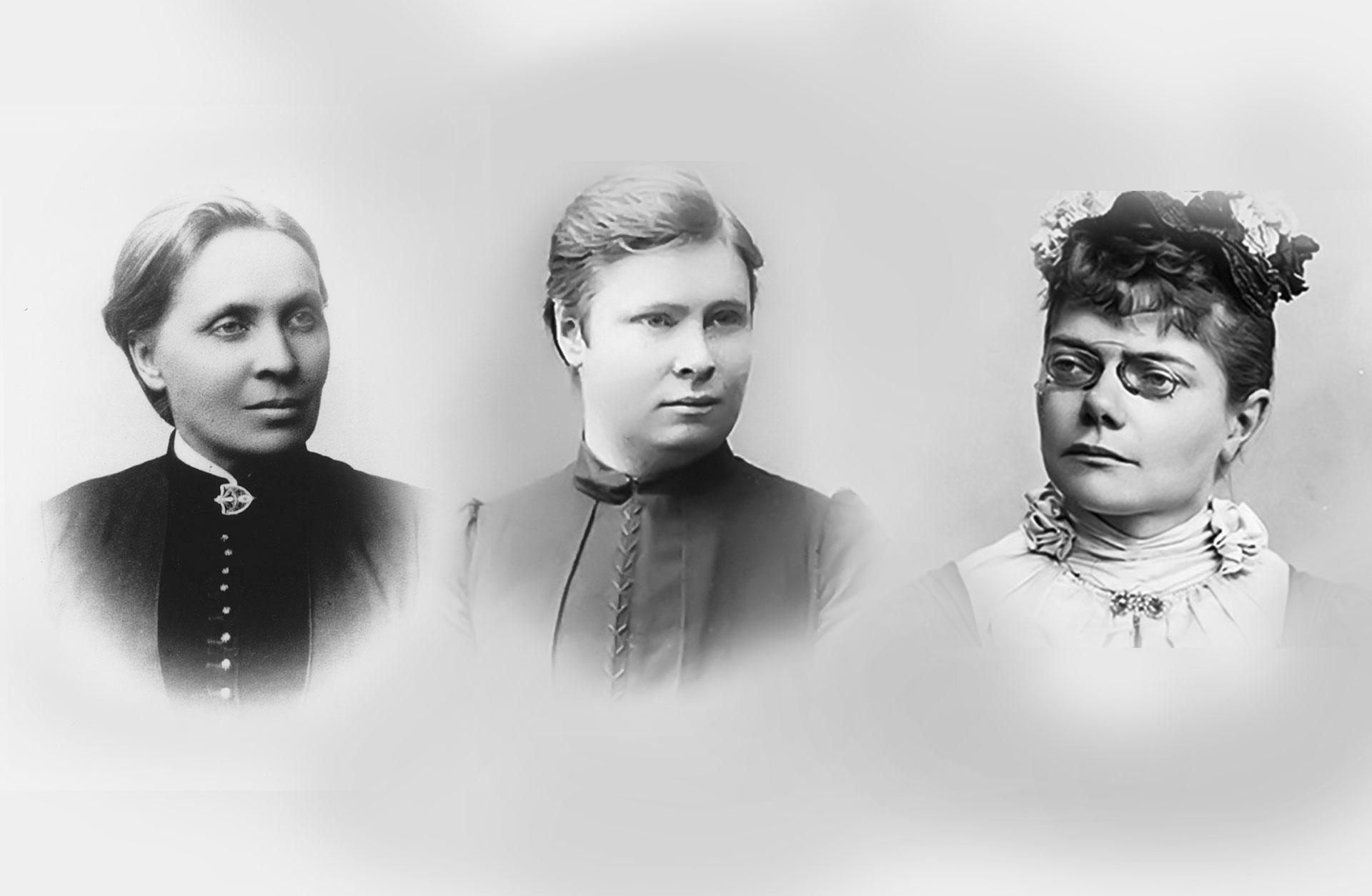 Kollage med svartvita porträtt av Elfrida Andrée, Ida Moberg och Valborgs Aulin