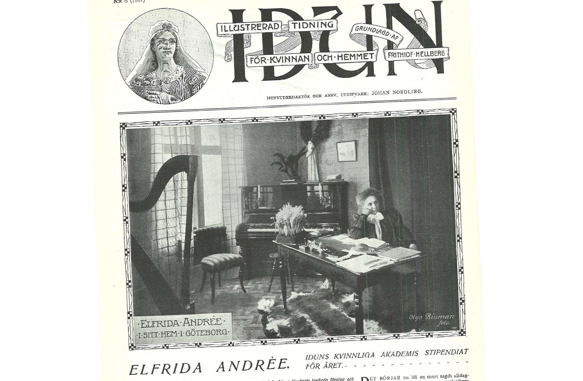 Faksimil ur tidningen IDUN 6 feb 1908. Alfrida Endrée sitter vid ett skrivbord på sitt kontor.