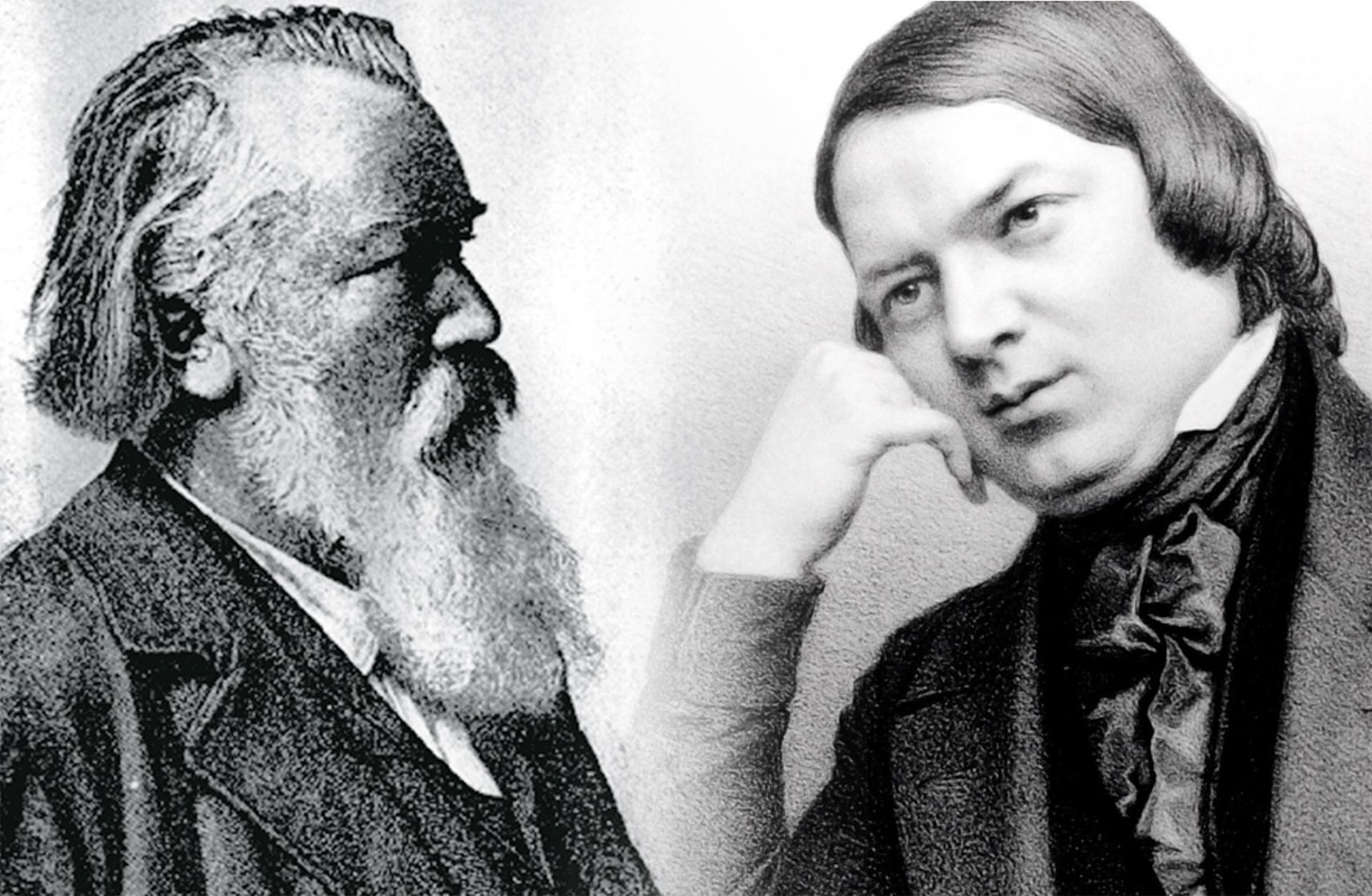svartvita porträtt på kompositörerna Brahms och Schumann