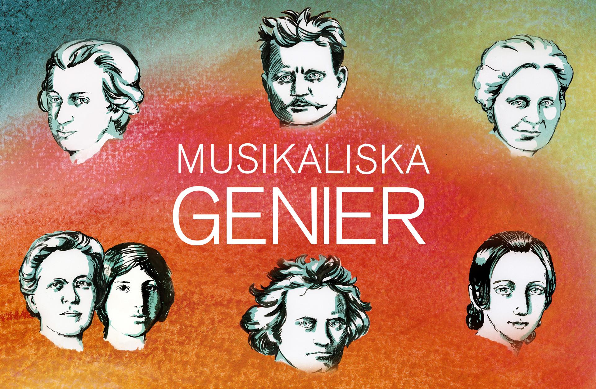 illustration av alla kompositörer som är med i podden Musikaliska genier