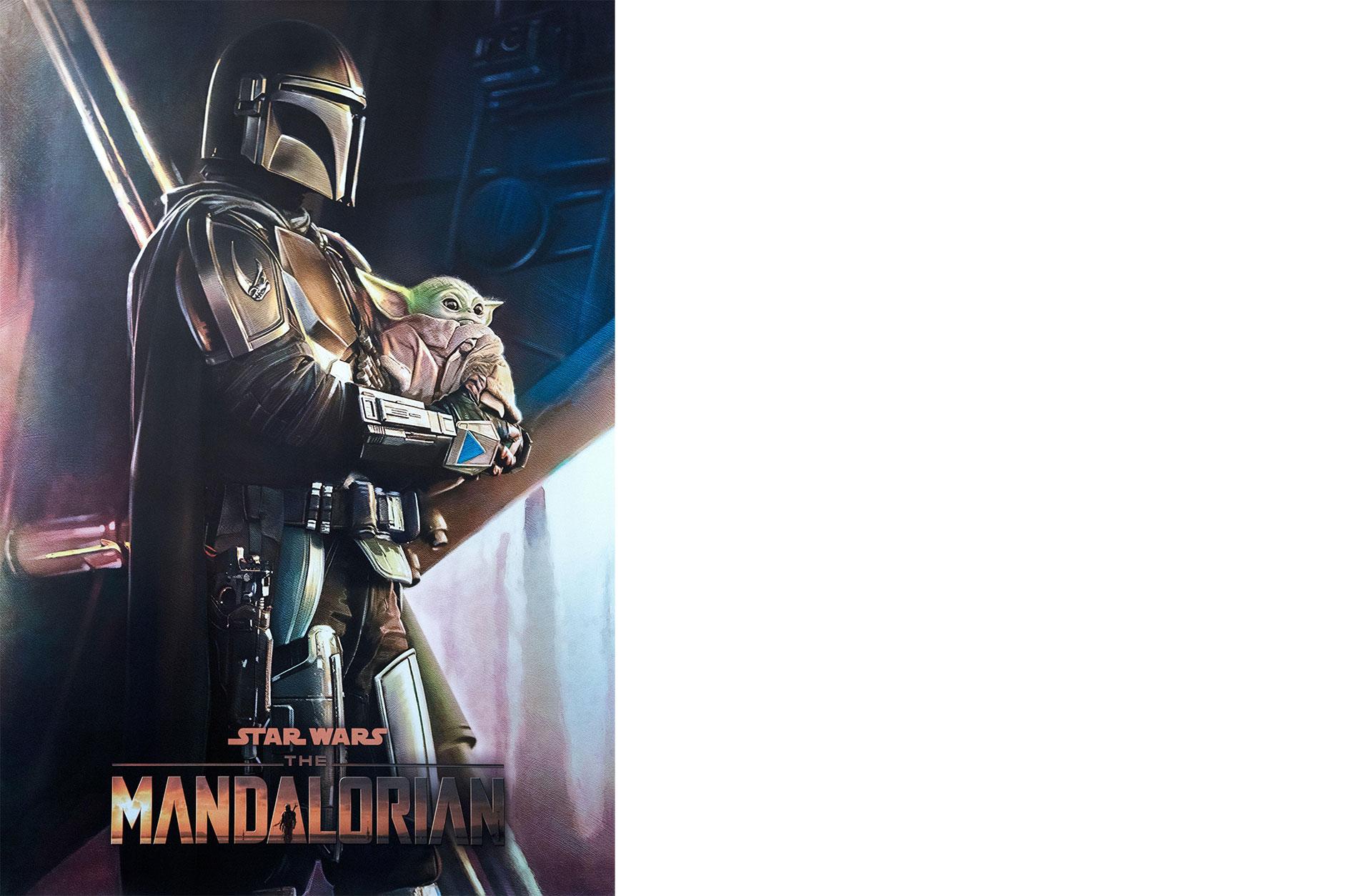 Filmaffisch för Mandalorian föreställande Baby Yoda i famnen på en Storm Trooper.